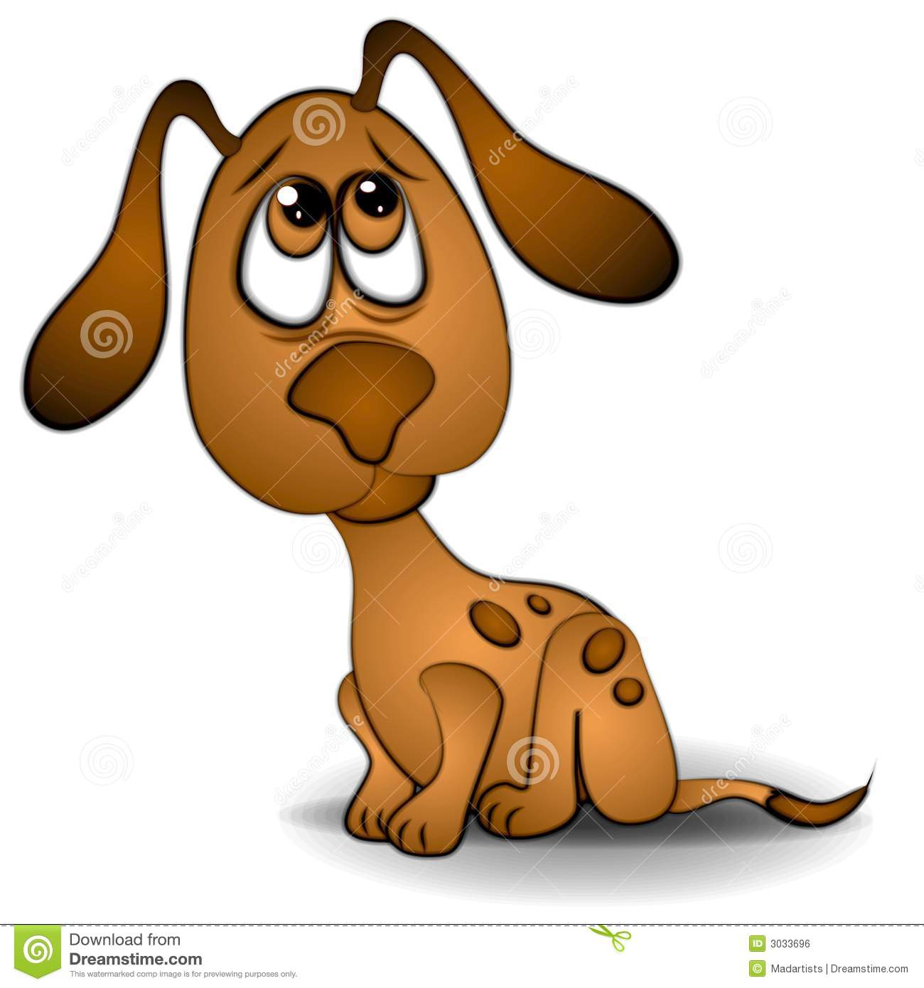 Clip Art Illustration Of A Very Sad Or Scared Looking Dog Or Puppy