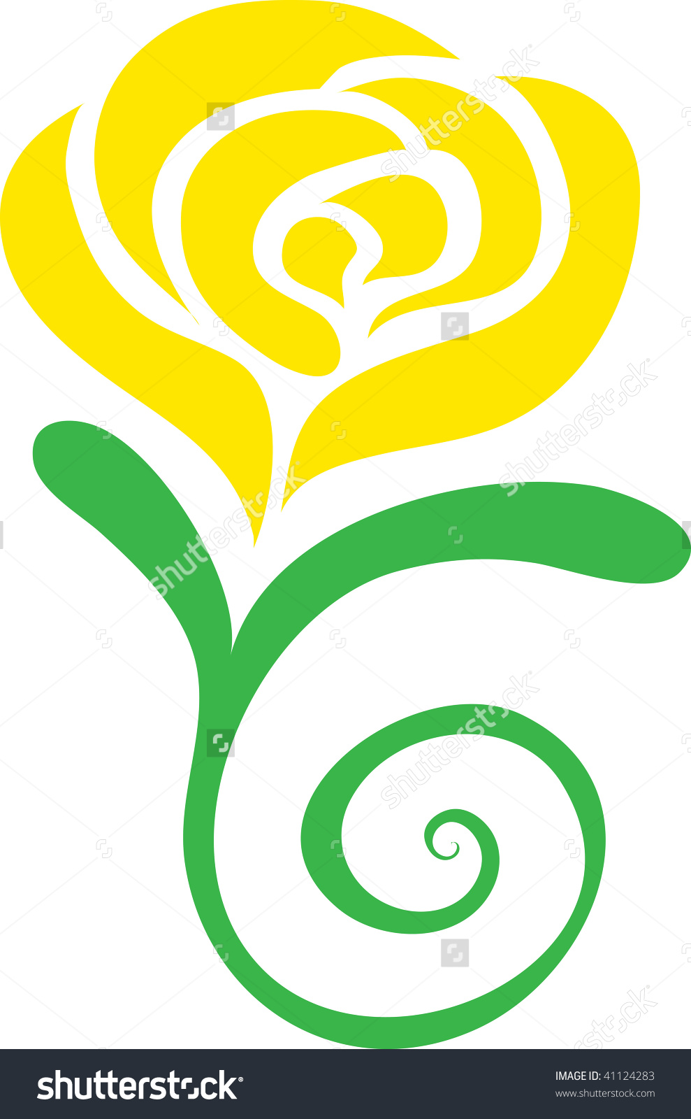 Clip Art Illustration Of A Yellow Rose. -Clip art illustration of a yellow rose. Preview. Save to a lightbox-2