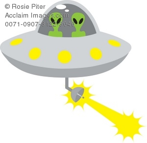 Clip Art Illustration Of Aliens Driving -Clip Art Illustration Of Aliens Driving A Space Ship Firing A Beam-3