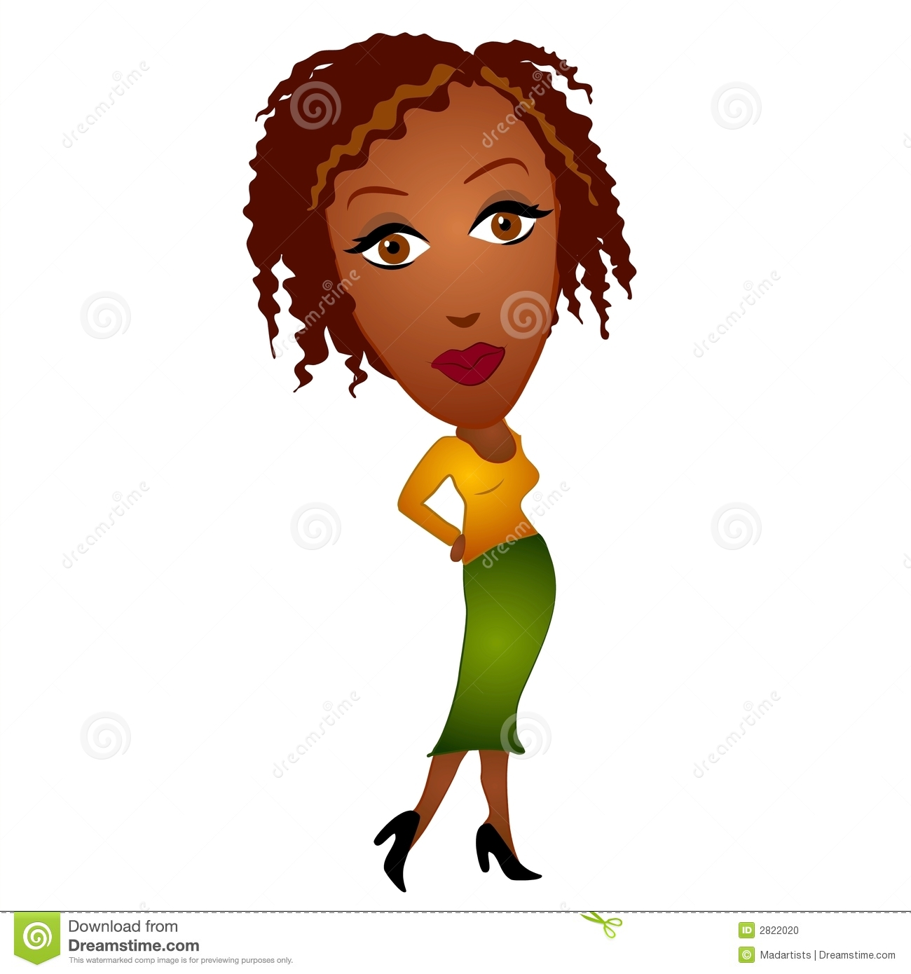 Clip Art Illustration Of An African American Woman Wearing A Yellow