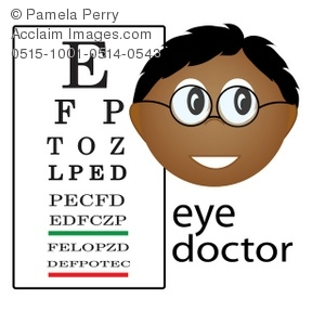 Clip Art Illustration of an Eye Doctor Occupation Icon-Ethnic