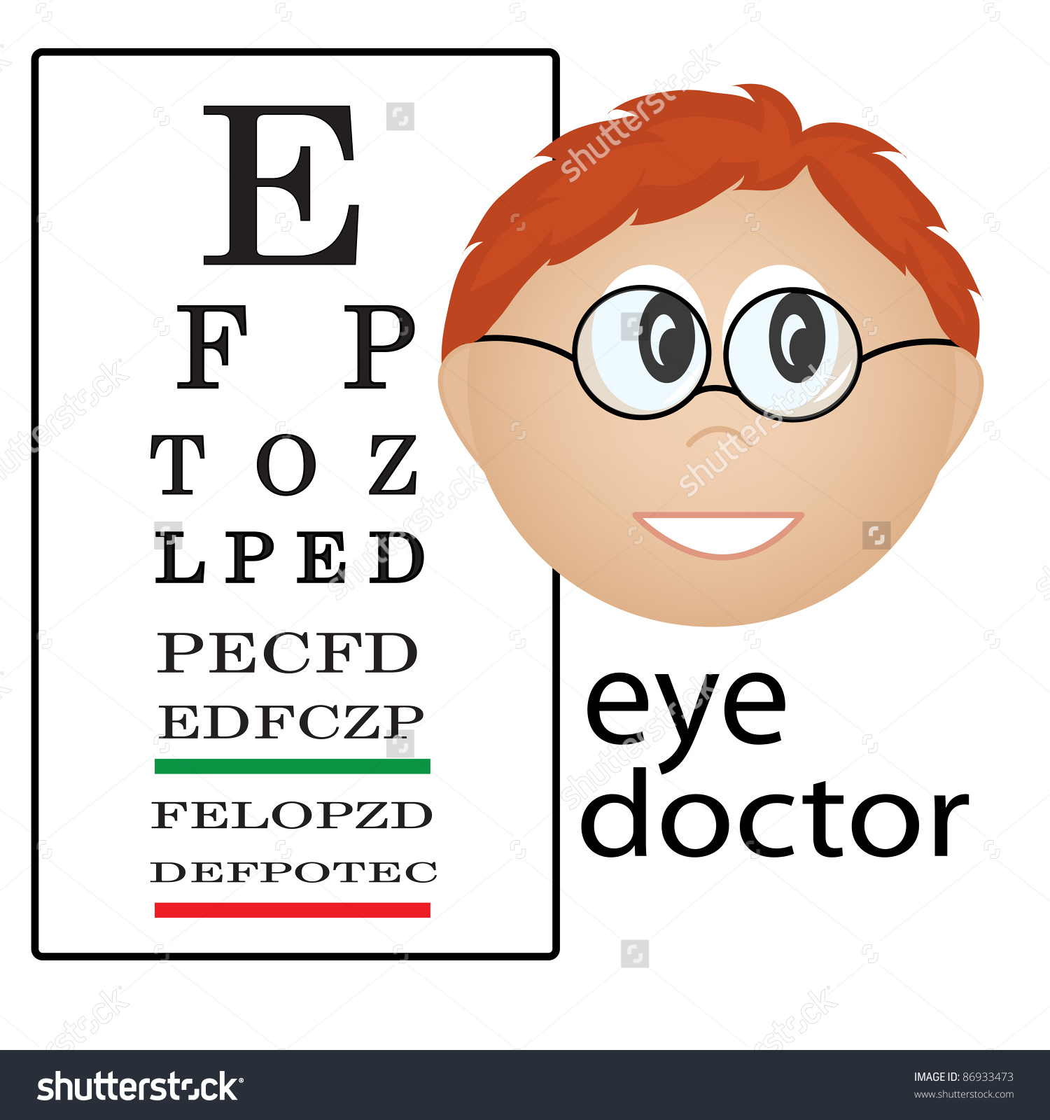 Clip art illustration of an eye doctor occupation icon.