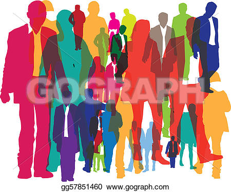 Clip Art - Illustration of different people as a background. Stock Illustration gg57851460