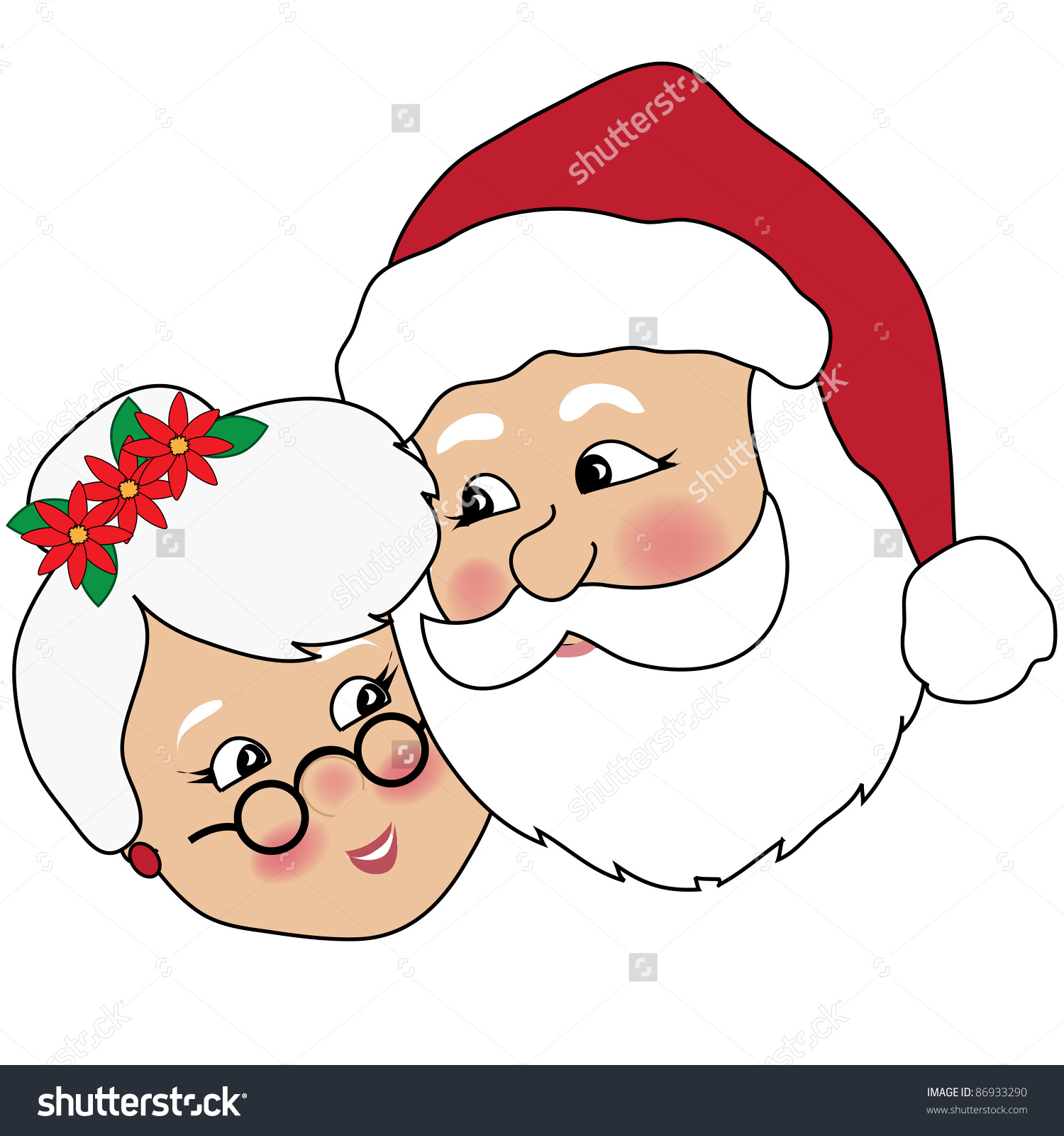 Clip Art Illustration Of Mr And Mrs Clau-Clip art illustration of Mr and Mrs Claus cuddling.-4