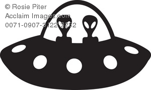 Clip Art Illustration Of The Silhouette -Clip Art Illustration Of The Silhouette Of Aliens Driving A Space Ship-4