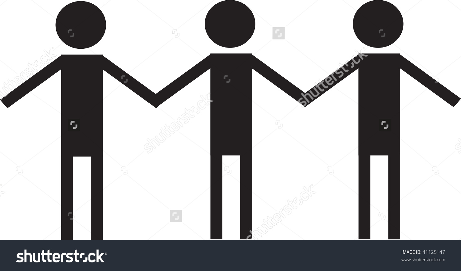 Clip art illustration of three people holding hands.