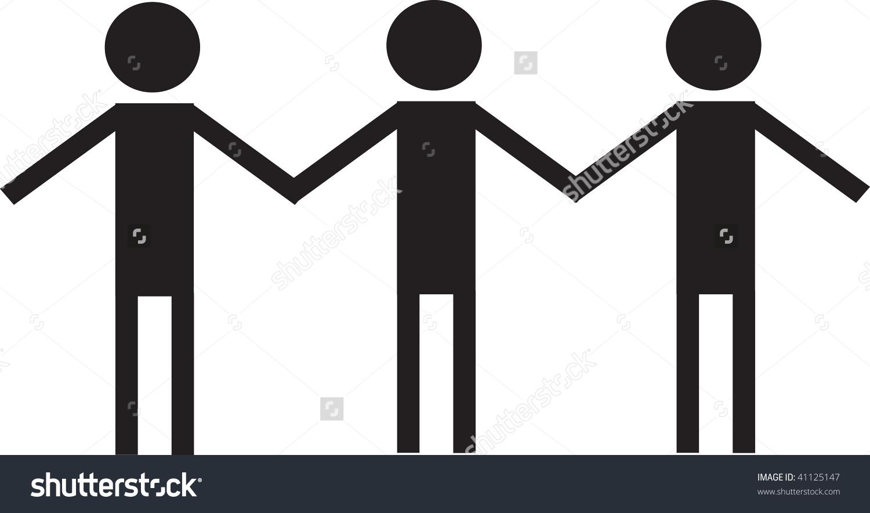 Clip Art Illustration Of Three People Ho-Clip art illustration of three people holding hands.-2