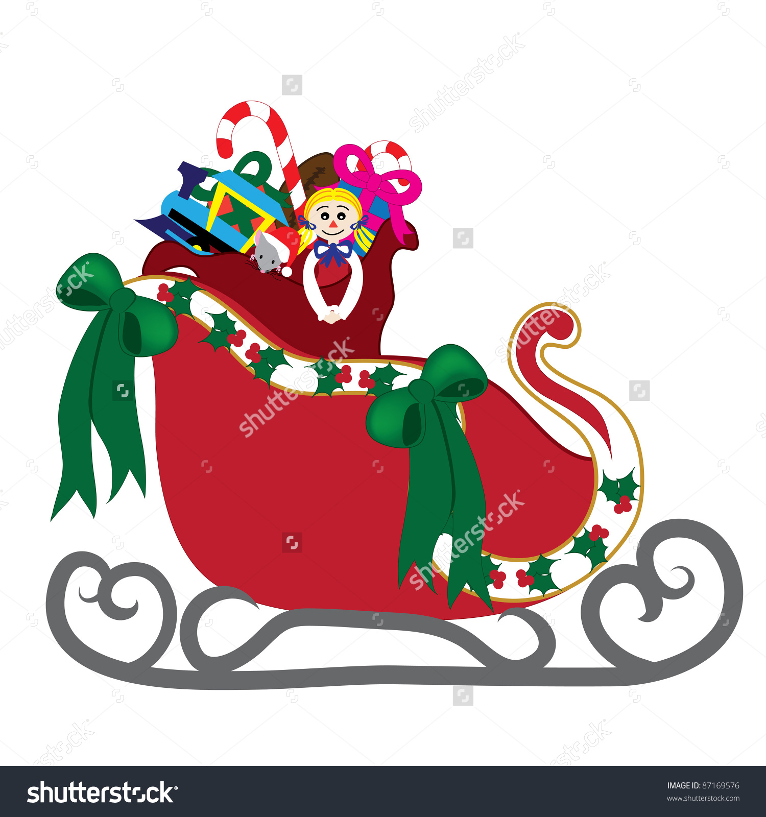 Clip Art Illustration Santas Sleigh His Stock Illustration .