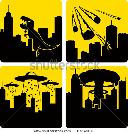 Clip art illustration styled like universal signs showing various disasters in a large city. Includes