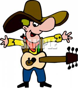 Clip Art Image: A Cowboy and  - Country Music Clipart