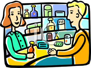 Clip Art Image: A Man Picking Up His Prescription From the Pharmacist