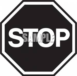 Clip Art Image: Black and White Stop Sign