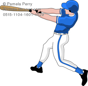 Clip Art Image of a Baseball Player Up to Bat