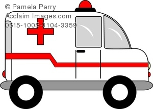 Clip Art Image of a Cartoon Ambulance