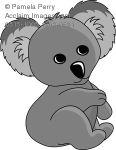 Clip Art Image of a Cartoon Baby Koala Bear
