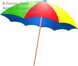 Clip Art Image of a Colorful Beach Umbrella