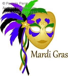Clip Art Image of a Golden Carnival Mardi Gras Mask