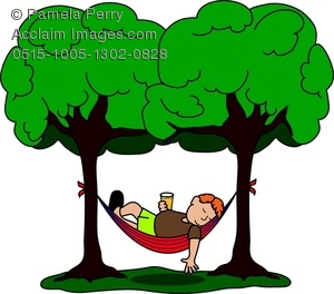 Clip Art Image of a Guy Sleeping in a Hammock - Acclaim Stock .