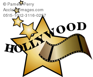 Clip Art Image of a Hollywood Star and Film Strip