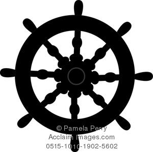 Clip Art Image of a Silhouette of a Ship-Clip Art Image of a Silhouette of a Shipu0026#39;s Wheel-15