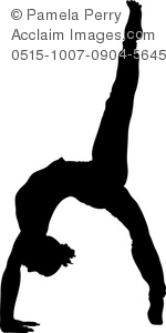 Clip Art Image of a Silhouette of a Young Woman Doing Yoga