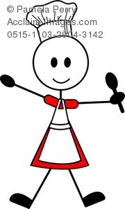 Clip Art Image of a Stick Figure Female Chef Holding a Spoon