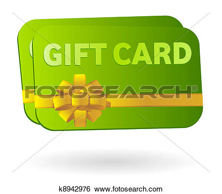 Clip Art - Isolated gift card with ribbon. Fotosearch - Search Clipart, Illustration Posters