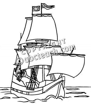 Clip Art: Mayflower Ship (Bu0026amp;W) .-Clip Art: Mayflower Ship (Bu0026amp;W) .-19