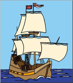 Clip Art: Mayflower Ship (Color) - Pilgrim - Thanksgiving - November - preview