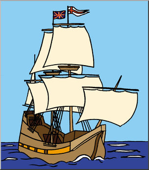 Clip Art: Mayflower Ship (Color) - Pilgr-Clip Art: Mayflower Ship (Color) - Pilgrim - Thanksgiving - November - preview-5