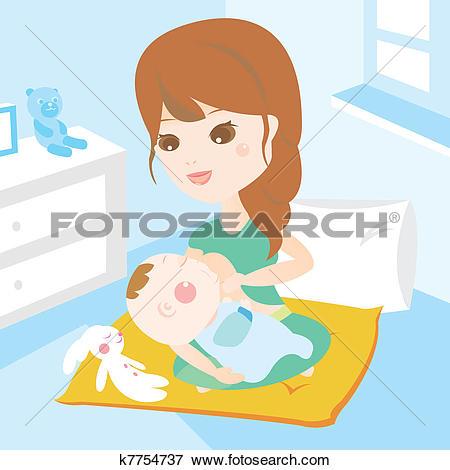 Clip Art. mother breast feeding new born baby