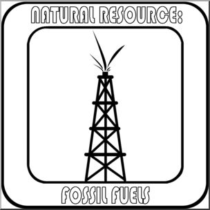 Clip Art: Natural Resources: Fossil Fuel-Clip Art: Natural Resources: Fossil Fuels Bu0026amp;W Labeled - preview 1-6