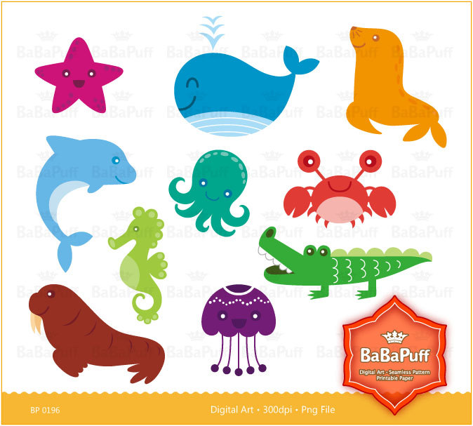 Clip Art Ocean Animals Clip Art Sea Creatures Clip Art Sea Animal Clip