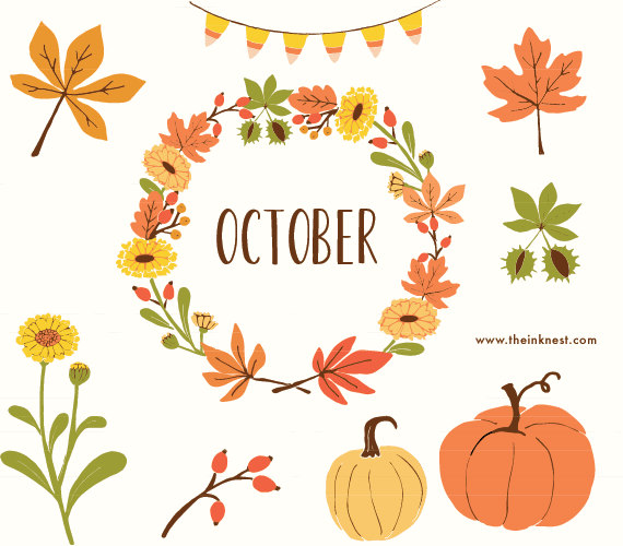 Clip Art October For Commercial And Personal Use By Theinknest