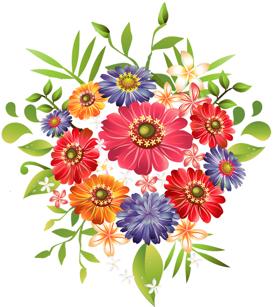 Clip Art Of A Bouquet Of Summer Flowers -Clip Art Of A Bouquet Of Summer Flowers - Dixie Allan-8