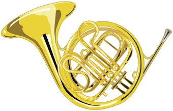 Clip Art Of A Brass French Horn