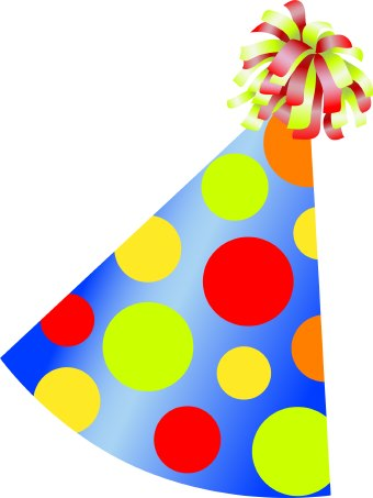 Clip Art Of A Colorful Conical Birthday Party Hat With Polka Dots And