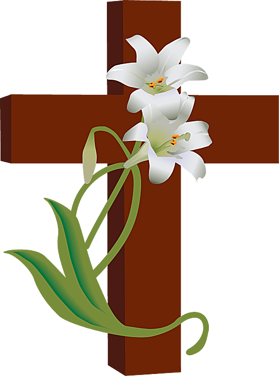 Clip Art of a Cross with White Lilies