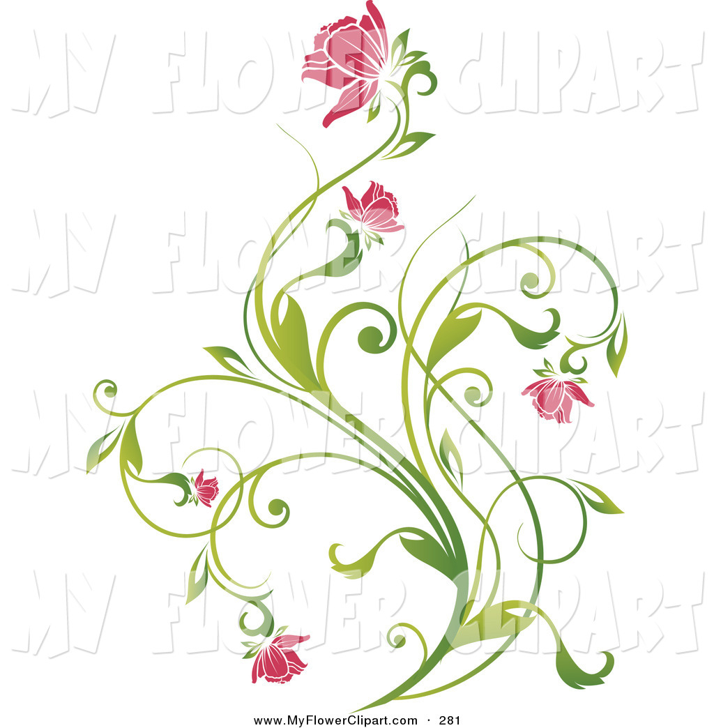 Clip Art Of A Delicate Green Vine With Pink Blooming Flowers On A