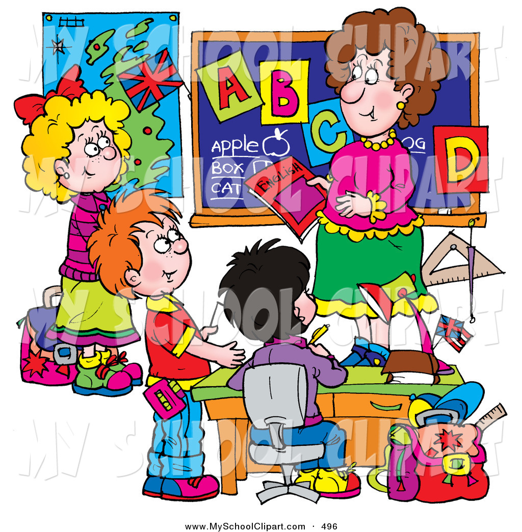 Clip Art Of A Female School Teacher Teaching Elementary School