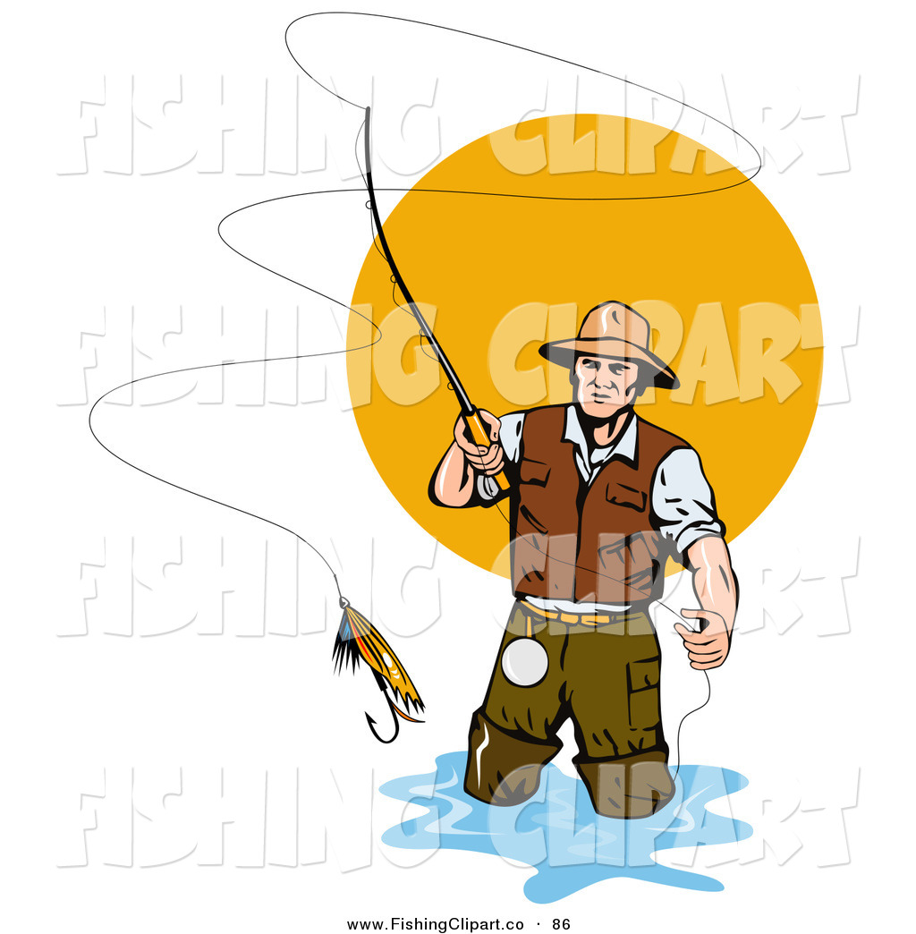 Clip Art Of A Fly Fisherman Casting The -Clip Art Of A Fly Fisherman Casting The Bait Into The Water By-12