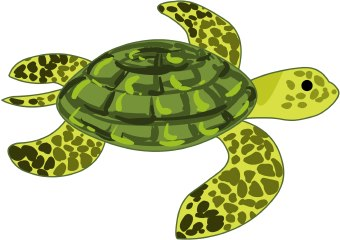 Clip Art Of A Green And Yellow Spotted Marine Turtle Swimming