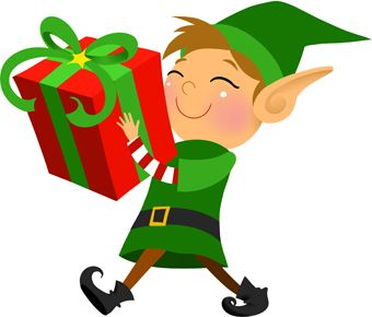 Clip art of a grinning elf carrying a large wrapped Christmas gift. Description from dailyclipart