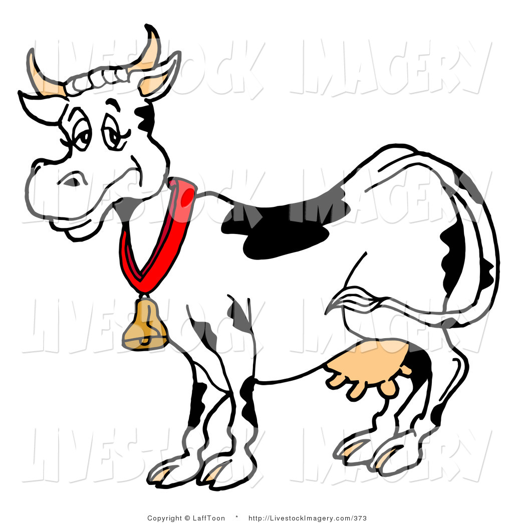 Clip Art Of A Happy Black And White Dair-Clip Art of a Happy Black and White Dairy Cow Wearing a Gold Bell Around Its-2