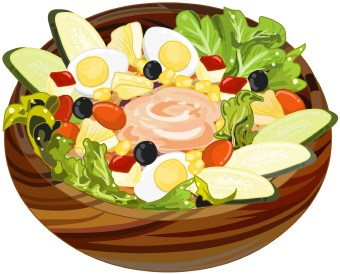 Clip Art Of A Salad Of Lettuce Tomato Cucumber And Egg In A Striped