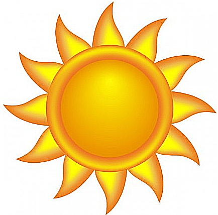 Clip art of a simple orange and yellow sun