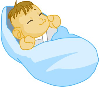 Clip Art Of A Sleeping Baby Swaddled In A Blue Blanket