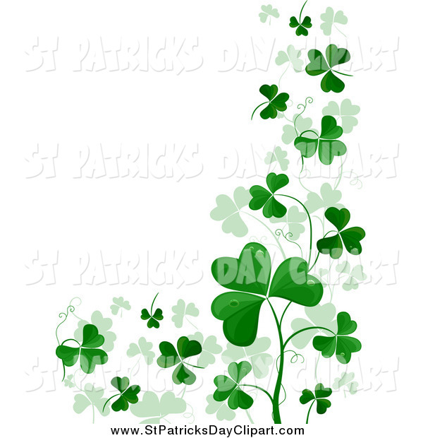 Clip Art of a St Patricks Day Shamrock Border with Text Space