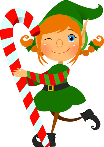 Clip Art Of An Elf Carrying A Red And Wh-Clip Art Of An Elf Carrying A Red And White Candy Cane And Giving Us A-7