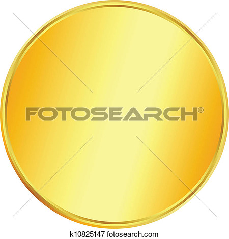 Clip Art of Blank gold coin .